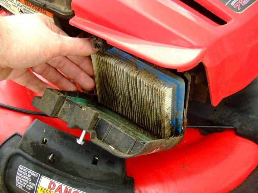 The purpose of a lawnmower's air filter
